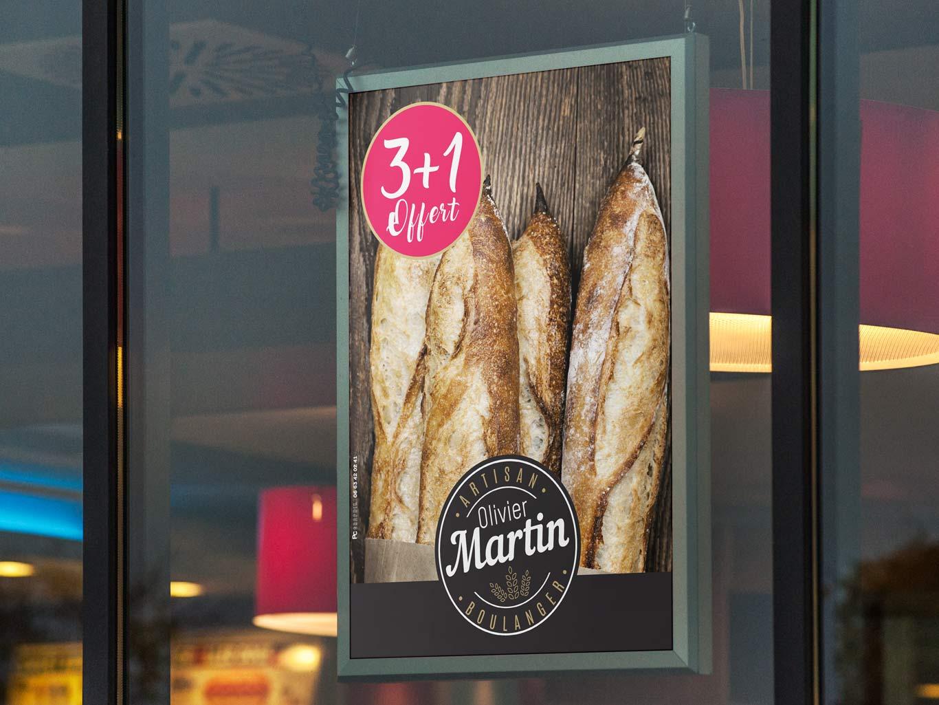 Affiche d'une promotion en boulangerie avec 4 baguettes