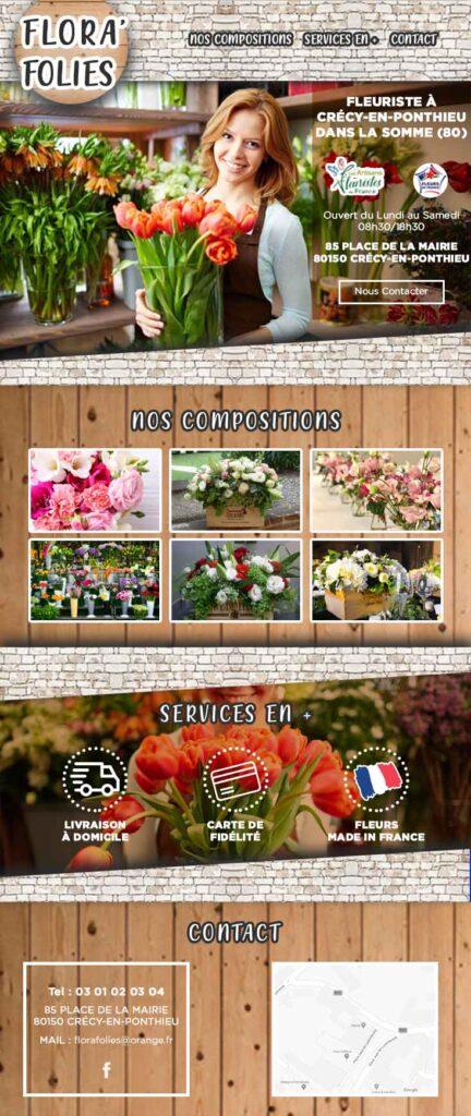 Site internet d'un fleuriste composé d'une page avec des images de fleurs, plantes et compositions florales