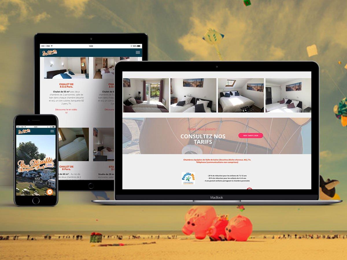 Mockup Macbook, Ipad et Iphone présentant le site internet chezmireille.fr