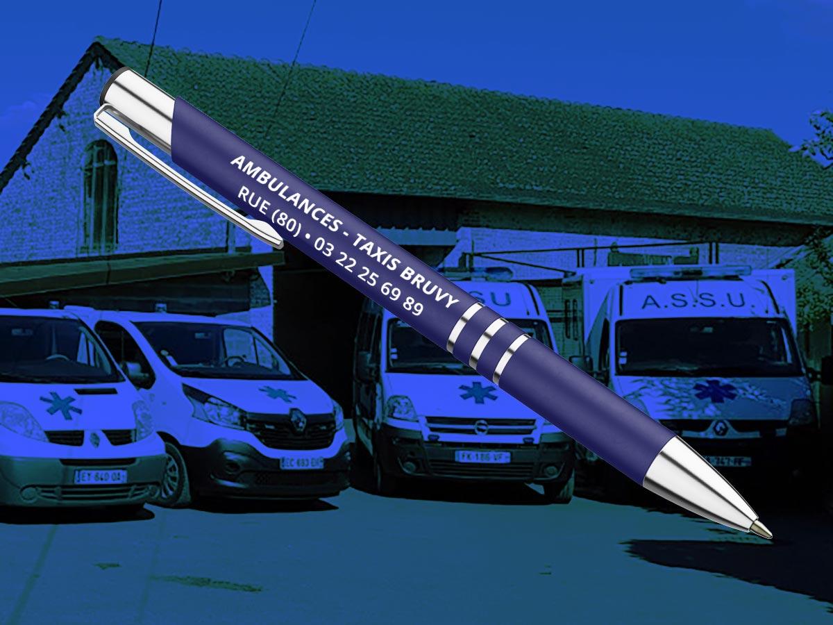 Stylo personnalisé réalisé en France pour une entreprise d'ambulances et Taxi en Baie de Somme