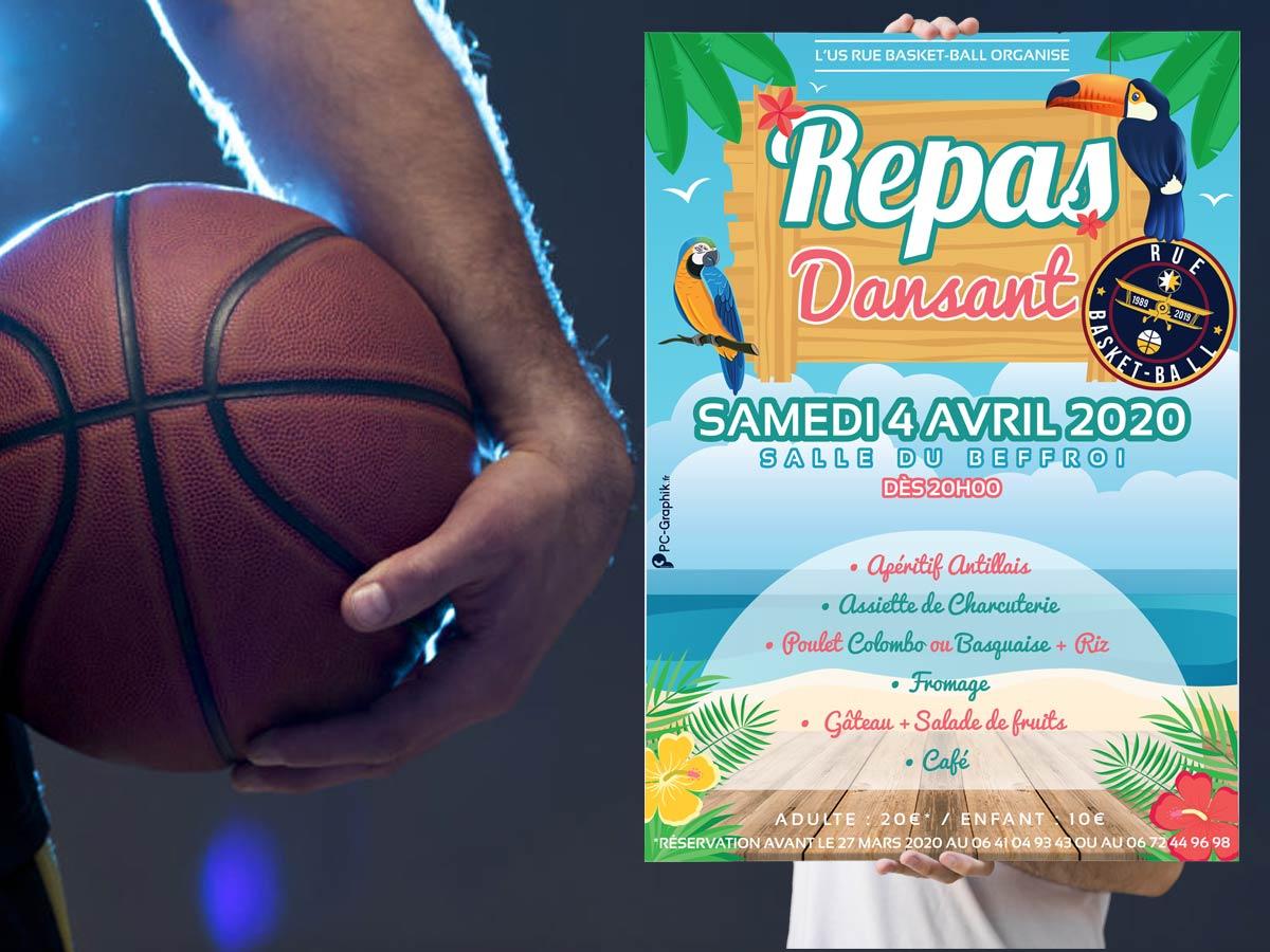 Affiche pour un repas dansant organisé par un club de basket sur le thème créole