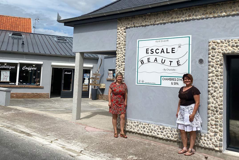 Photo de la nouvelle façade de l'Escale Beauté, institut de beauté au Crotoy au coeur de la Baie de Somme en Picardie