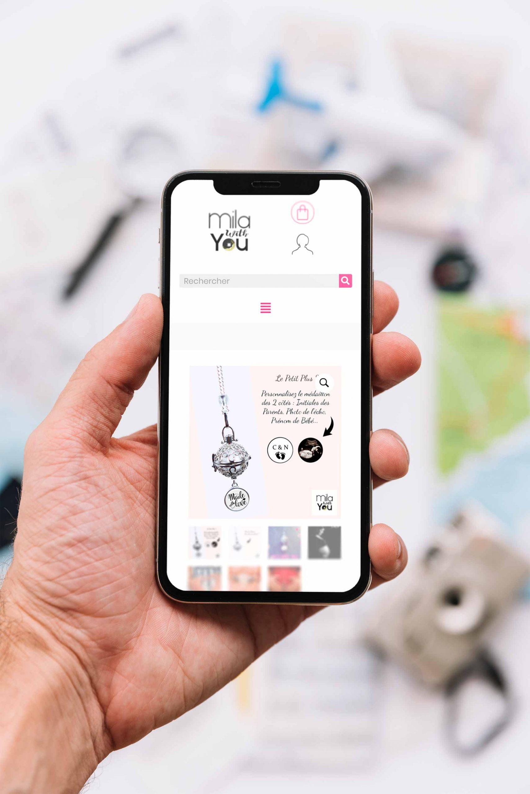 Présentation sur smartphone du site Milawithyou.com