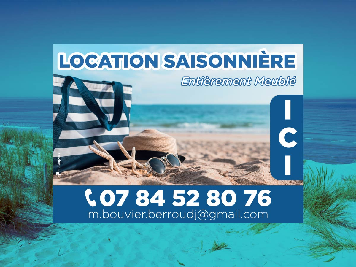 Panneau d'information concernant une location en Baie de Somme