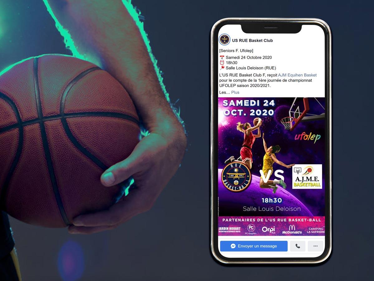 Présentation sur smartphone d'une publication Facebook de l'Us Rue Basket-ball